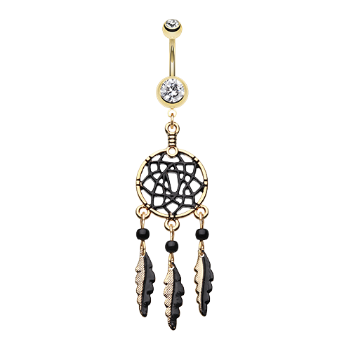 Golden Black Dreamcatcher Belly Ring