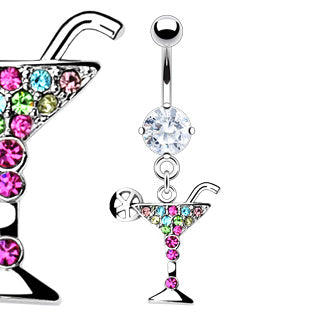 Martini Glass Dangling Belly Ring