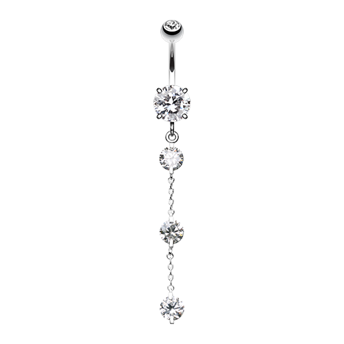 Triple Crystal Droplets Belly Ring