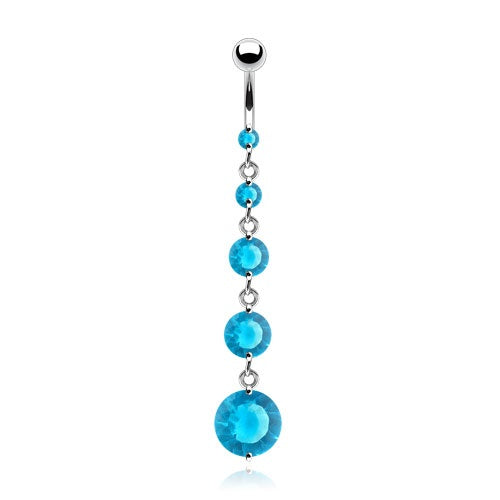 Round Solitaire CZ Drops Belly Ring - Aqua