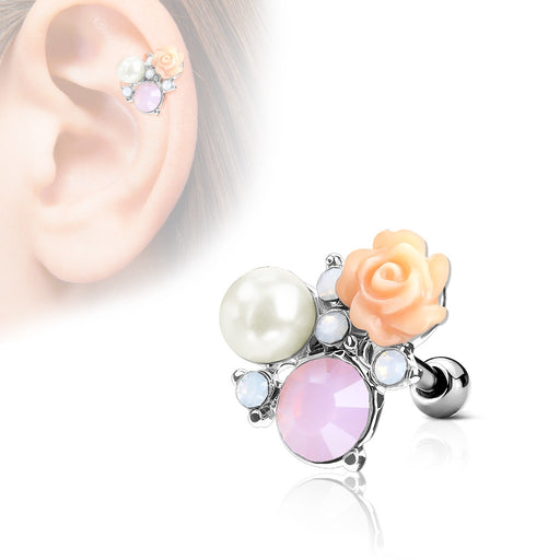 Flower and Opalite with Pearl Cartilage Ring - silver