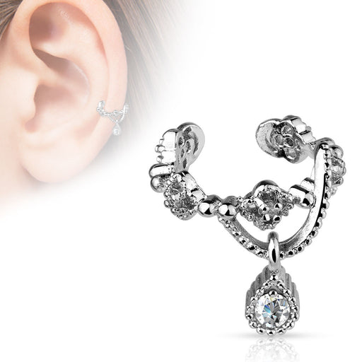 Gem Dangle Ear Cuff