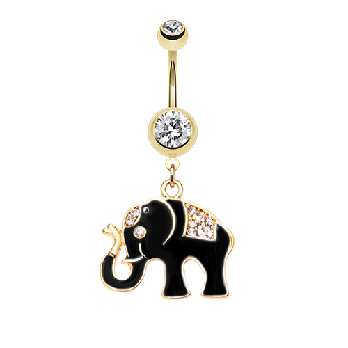 Black and Gold Elephant Belly Ring