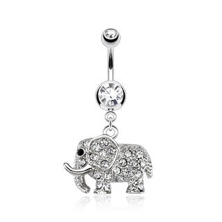 Dangling CZ Elephant Belly Ring-Clear