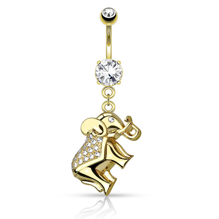 CZ Paved Elephant Belly Ring - Gold