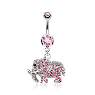 Dangling CZ Elephant Belly Ring-Pink