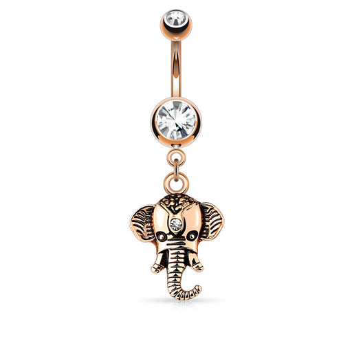 Elephant Dangle Belly Ring - Rose Gold