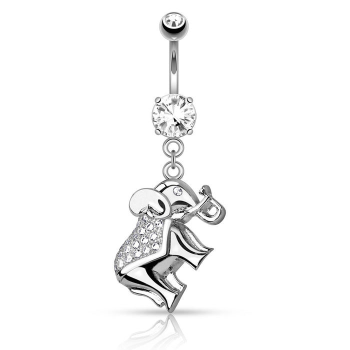 Cz Paved Elephant Belly Ring Silver