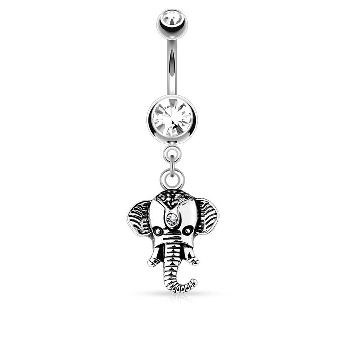 Elephant Dangle Belly Ring - Silver