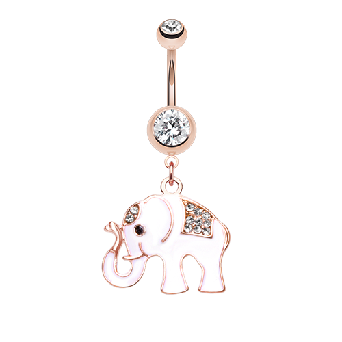 Rose Gold Elephant Belly Ring - White