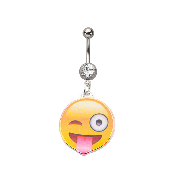 Winky Tongue Emoji Belly Ring