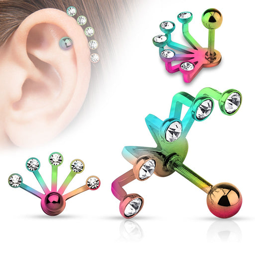 Rainbow Five Crystal Fan Cartilage Ring