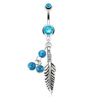 Feather Belly Button Ring Turquoise Beads
