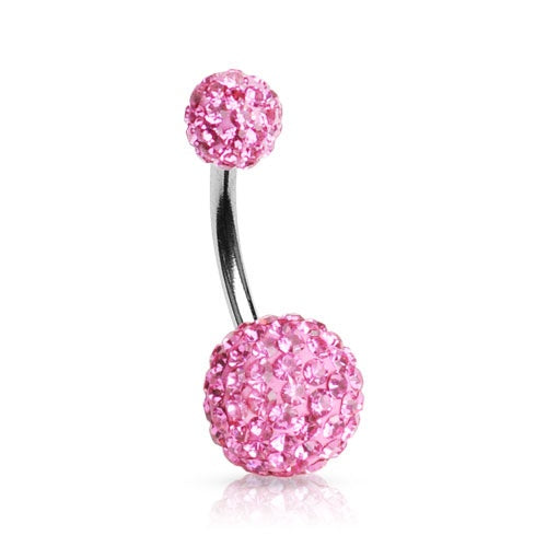 Pink Swarovski Crystal Ferido Belly Ring