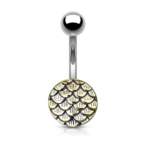Gold Casted Steel Fish Scale Belly Ring