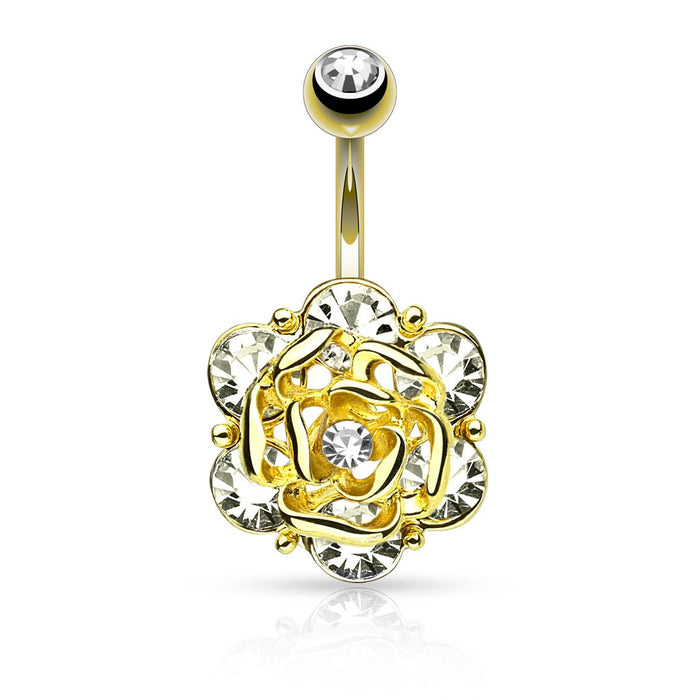 Gold Flower with 6 Gems Belly Ring