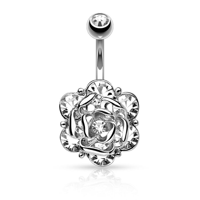 Silver Flower with 6 Gems Belly Ring