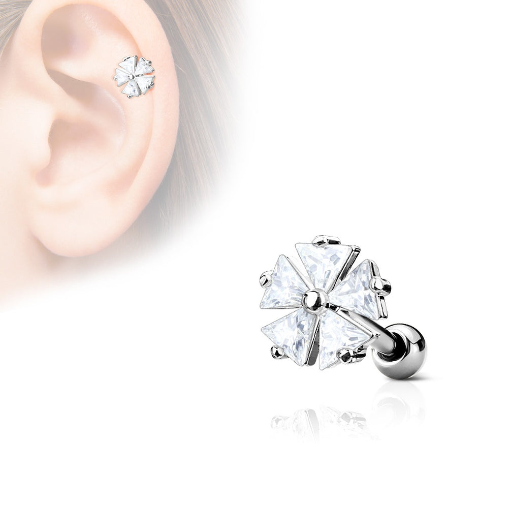 Flower CZ Cartilage Ring Silver