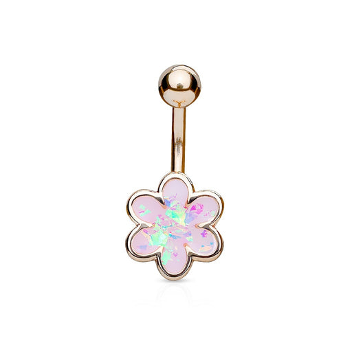 Opal Glitter Filled Flower Belly Ring