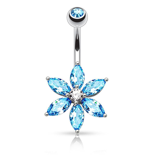 Marquise Cut CZ Flower Belly Ring - Aqua