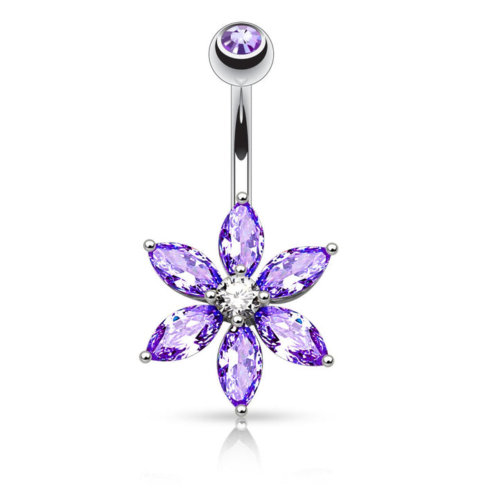 Marquise Cut CZ Flower Belly Ring - Purple