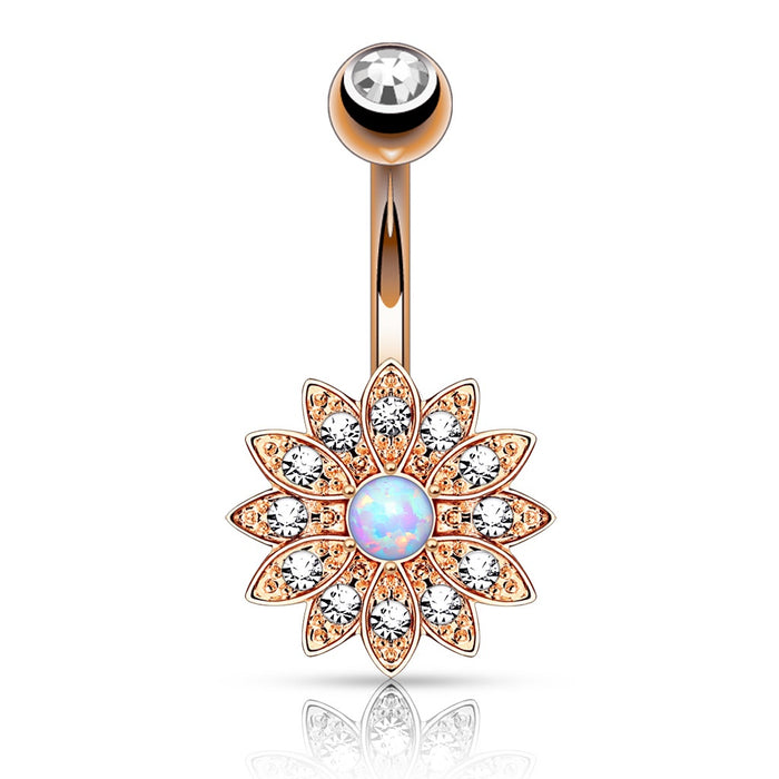 Crystal Paved Petals w/ Opal Center Flower Belly Ring