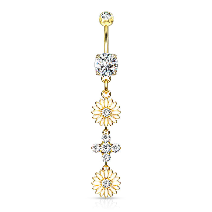 Flowers with CZ Center Belly Ring