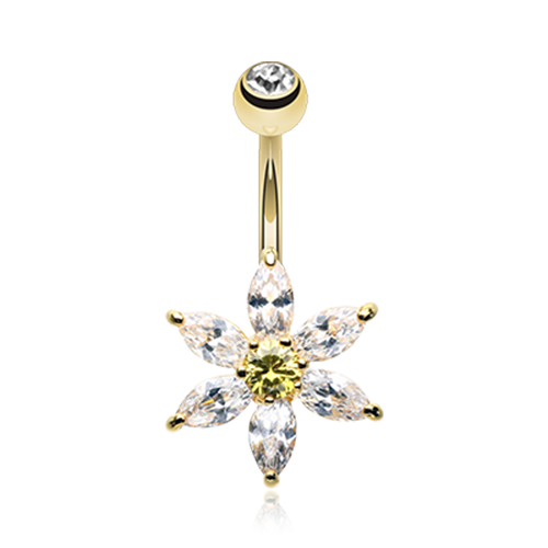 Golden Glistening Flower Belly Ring