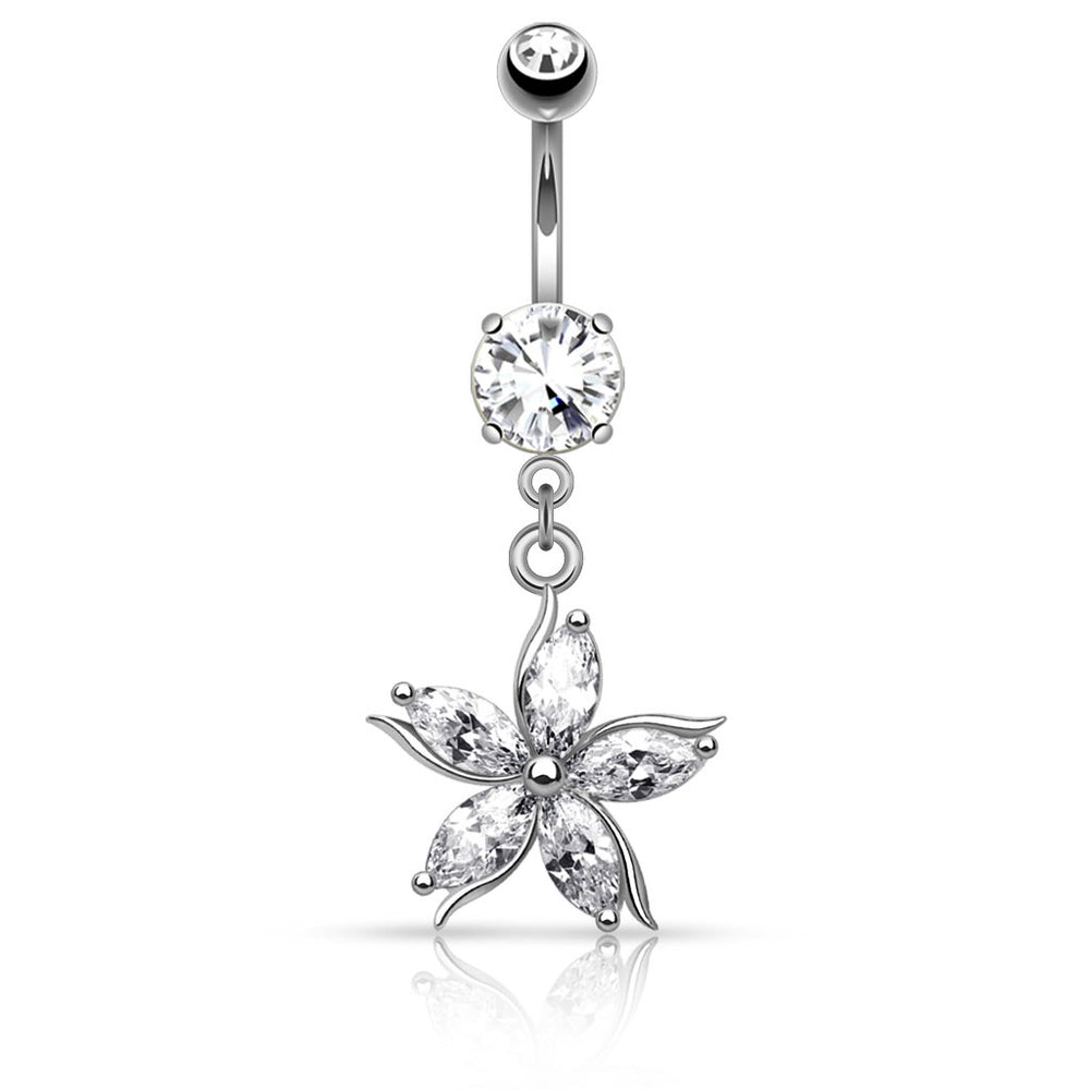 Silver Flower with CZ Petals Belly Ring