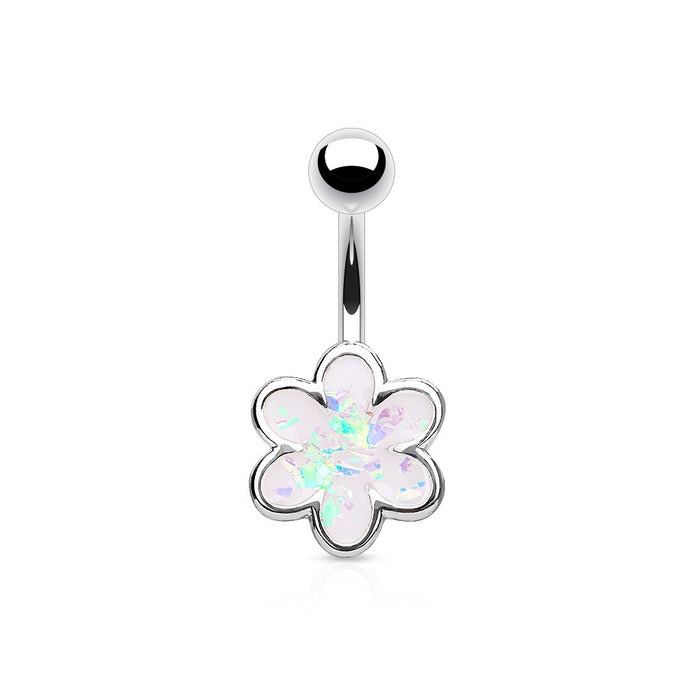 Opal Glitter Filled Flower Belly Ring Silver