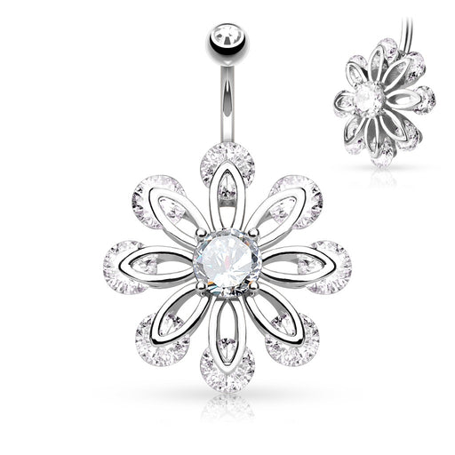 Petal Flower CZ Belly Ring - Silver