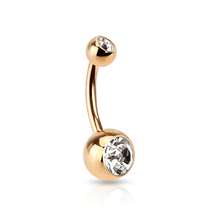 Rose Gold Double Gem Belly Ring - Clear