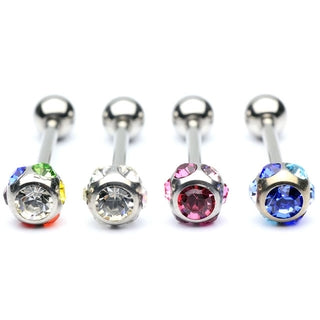 Barbell / Tongue Ring with Multiple Colored Gems