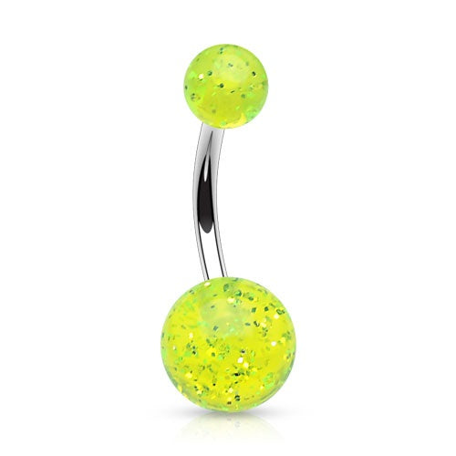 Green Glitter Ball Belly Ring