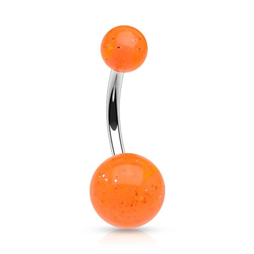 Orange Glitter Ball Belly Ring