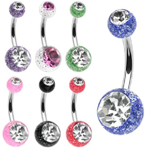 7 Pack Ultra Glitter Belly Rings
