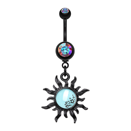 Glow in the Dark Star Cluster Sun Belly Ring