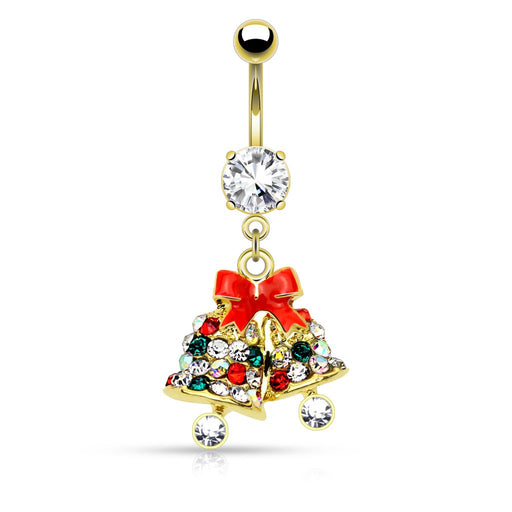 Gold Jingle Bells Belly Ring