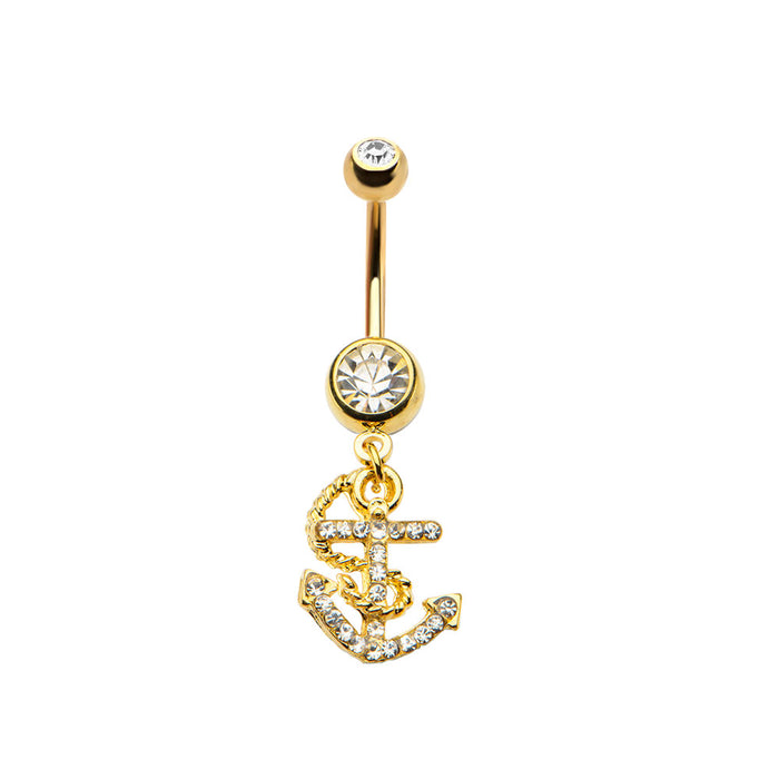 Gold Plated CZ Anchor Belly Ring