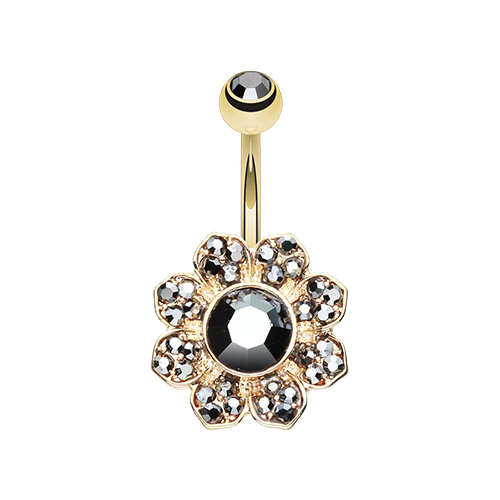 Golden Hematite Flower Belly Ring