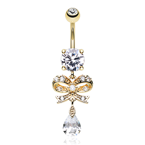Gold Gem Bow Belly Ring