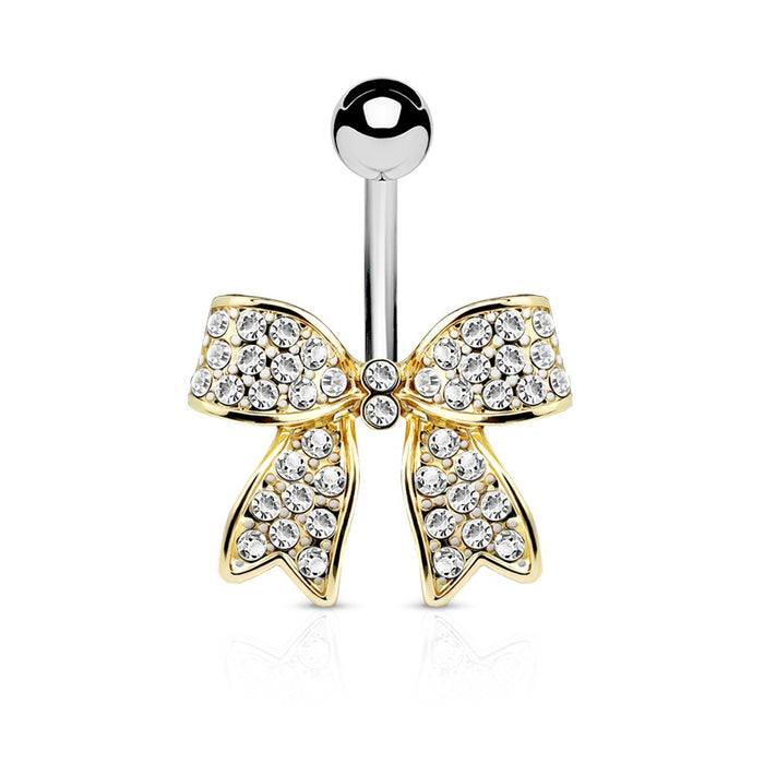 Gold Clear Crystal Paved Bow Belly Ring