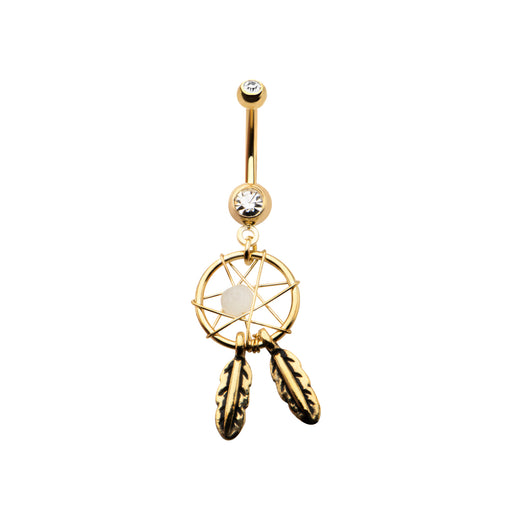 Gold Plated Dreamcatcher Belly Ring
