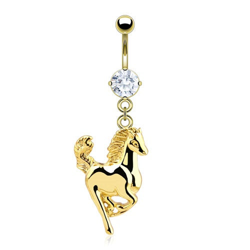 Gold Plated Horse Dangling Belly Ring
