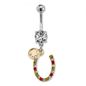 Gold Horseshoe With Gems Belly Ring