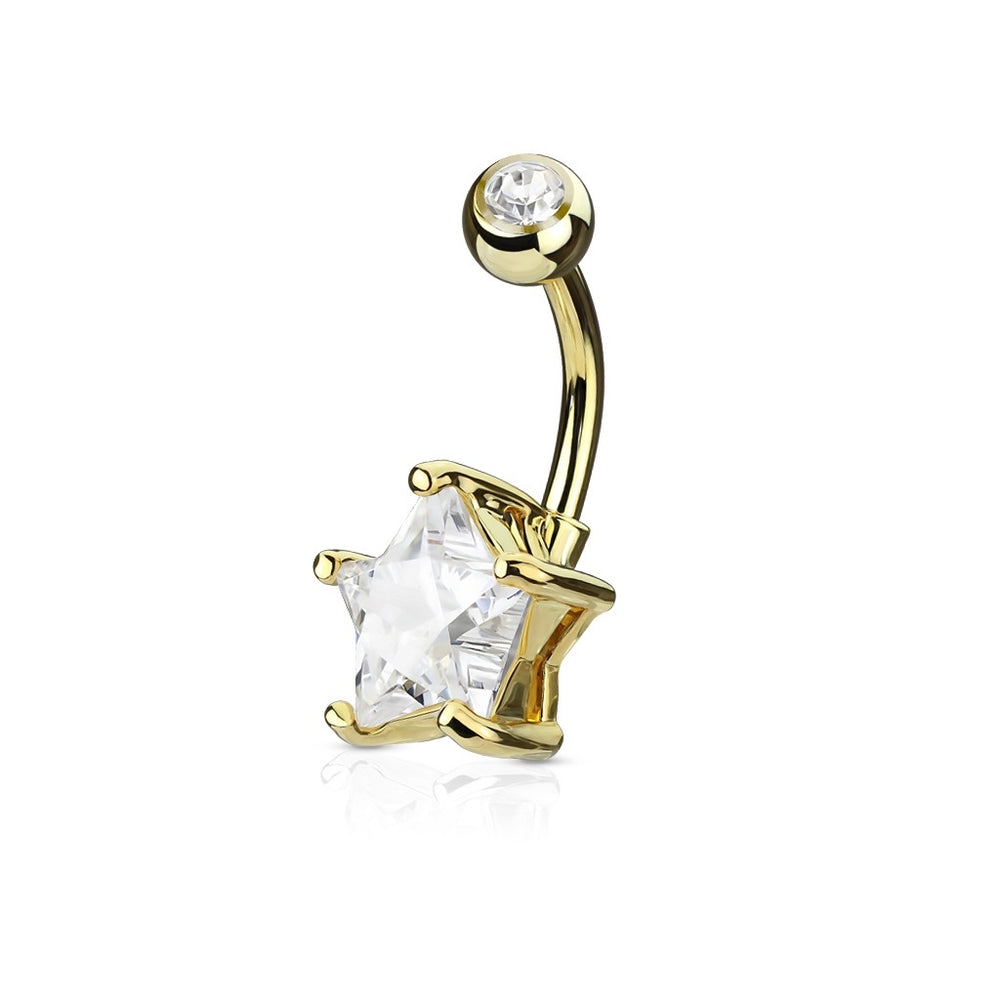 Clear Star Solitaire Belly Ring -Gold