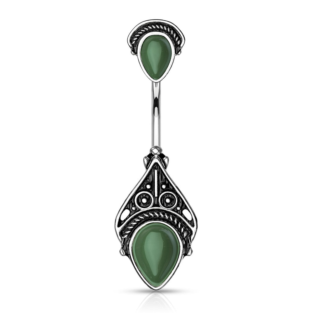 Green Vintage Filigree Belly Ring