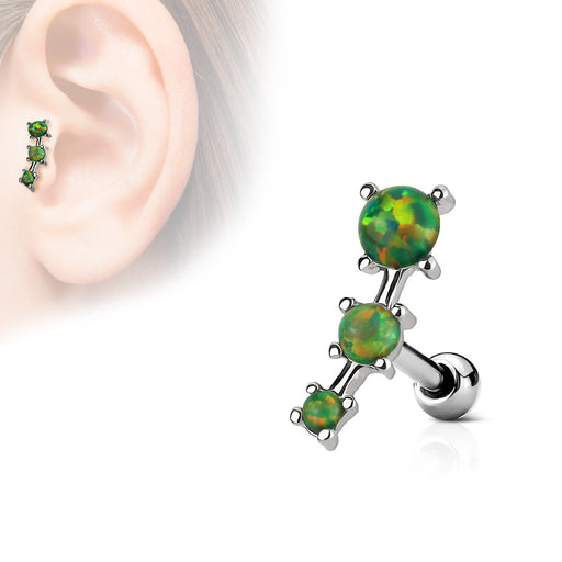 Triple Opal Cartilage Barbell - Green