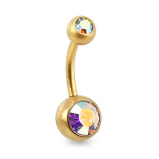 Brushed Gold Belly Ring - Iridescent Double Gem