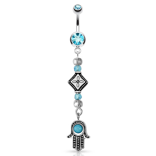 Hamsa with Tribal Beads Belly Ring